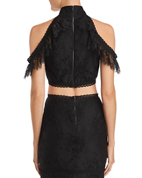 Alice and Olivia - Regina Cold-Shoulder Lace Cropped Top