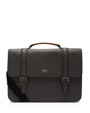 Nevadaa Grained Leather Satchel in Black