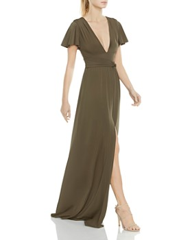 HALSTON HERITAGE - Flutter-Sleeve Jersey Gown