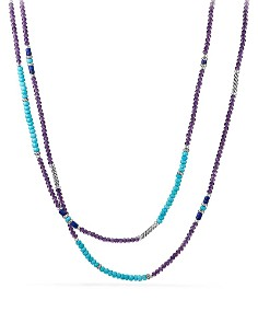 David Yurman - Tweejoux Bead Necklace in Amethyst, Turquoise & Lapis Lazuli