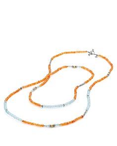 David Yurman - Tweejoux Bead Necklace in Orange Chalcedony, Blue Topaz & Amazonite with 18K Gold