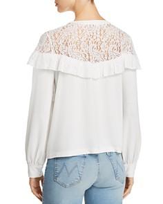 Marled - Ruffled Lace-Yoke Sweatshirt