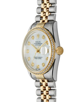 Pre-Owned Rolex - Stainless Steel & 18K Yellow Gold Two-Tone Datejust Watch with Mother-of-Pearl Dial & Diamonds, 36mm