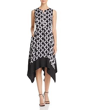 Donna Karan New York Printed Handkerchief-Hem Dress