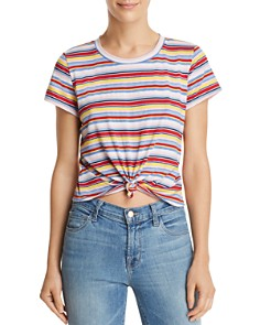 AQUA - Knot-Front Striped Tee - 100% Exclusive
