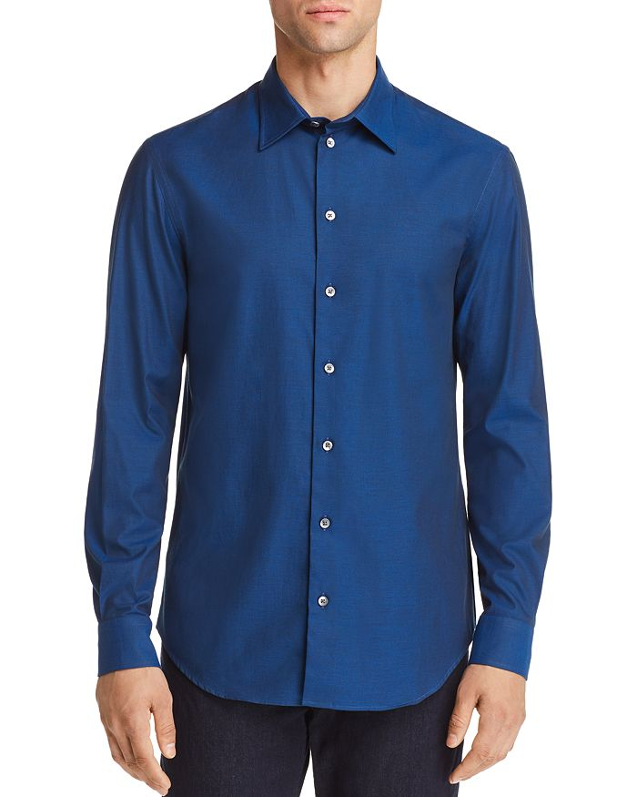 Armani - Micro Dotted Print Regular Fit Button-Down Shirt