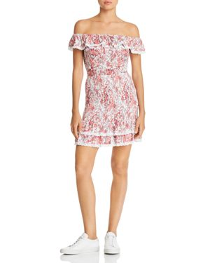 LOST AND WANDER LOST + WANDER SOFIA SMOCKED OFF-THE-SHOULDER MINI DRESS