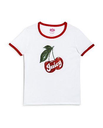 Juicy Couture Black Label - Girls' Cherry Graphic Ringer Tee - Big Kid