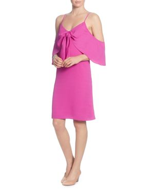 CATHERINE CATHERINE MALANDRINO Cold-Shoulder Knot-Front A-Line Dress in Pink