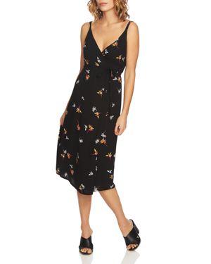 1.state Floral-Print Midi Wrap Dress