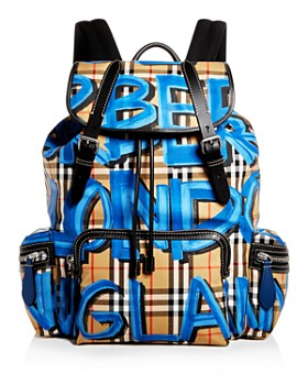 Burberry - Graffiti Logo Print Vintage Check Backpack