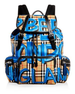 BURBERRY Grafitti Logo Print Vintage Check Backpack, Multi