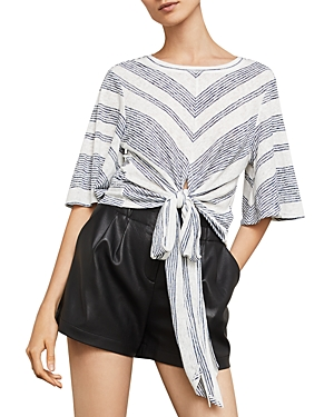 Bcbgmaxazria Striped Tie-Front Cropped Top