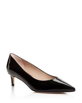 Stuart Weitzman - Women's Leigh 45 Patent Leather Kitten Heel Pumps