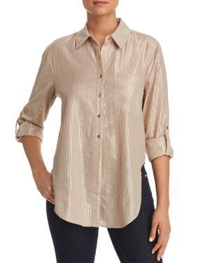 T TAHARI JAZZIE METALLIC-STRIPE SHIRT