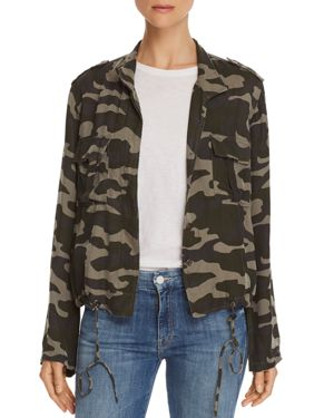Rowen Button-Front Camo-Print Linen-Blend Jacket, Forest Camo