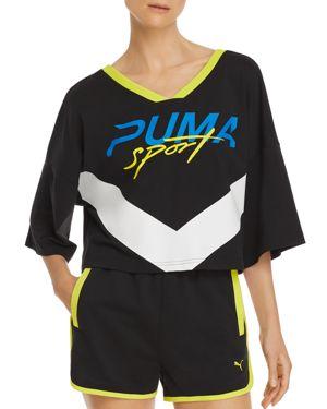 Xtreme Cropped V-Neck T-Shirt, Black