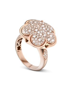 PASQUALE BRUNI 18K ROSE GOLD BON TON CHAMPAGNE DIAMOND FLORAL RING