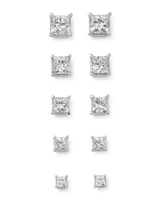 Diamond Princess-Cut Studs in 14K White Gold, 0.75 ct. t.w. - 100% Exclusive