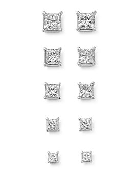 Bloomingdale's - Diamond Princess-Cut Studs in 14K White Gold, 0.25 ct. t.w. - 1.50 ct. t.w. - 100% Exclusive