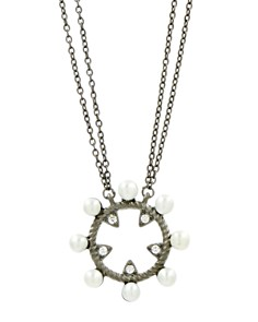 """Freida Rothman - Cultured Freshwater Pearl Textured Studded Loop Pendant Necklace, 16"""""""