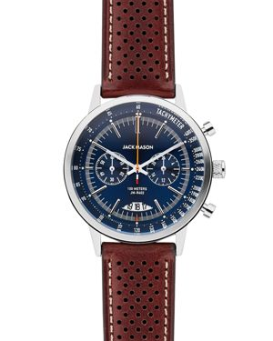 Racing Chronograph Leather Strap Watch, 40Mm, Blue