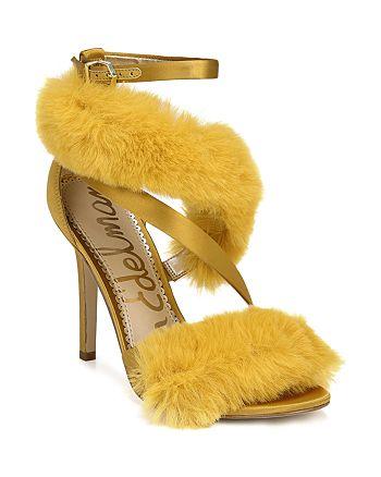 6b3a432d3c24 Sam Edelman Adelle Faux Fur Ankle Strap High-Heel Sandals ...