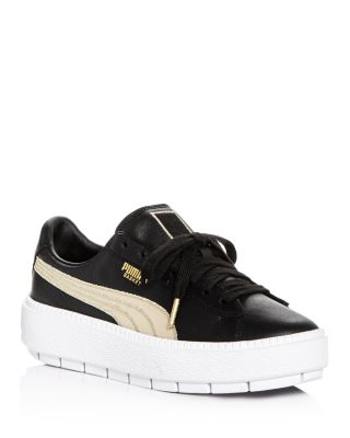 Women's Trace Varsity Leather Lace Up Platform Sneakers by Puma