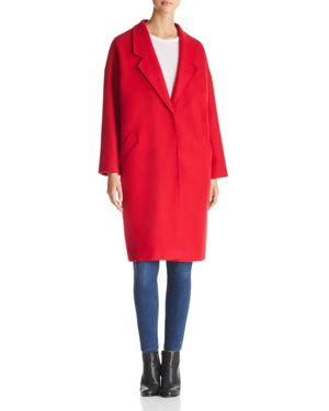 KENDALL AND KYLIE Drop Shoulder Midi Coat in Red