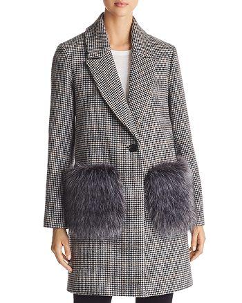 Kendall + Kylie - Houndstooth Faux Fur Pocket Coat