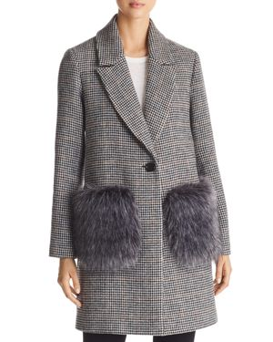 Kendall and Kylie Houndstooth Faux Fur Pocket Coat