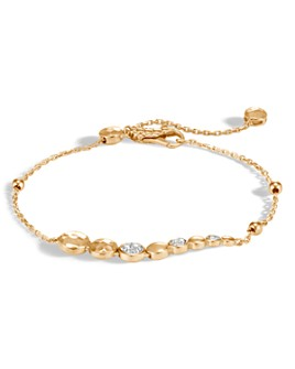 JOHN HARDY - 18K Yellow Gold Dot Hammered Pavé Diamond Pull Chain Bracelet