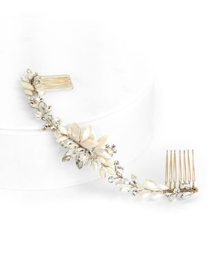 BRIDES AND HAIRPINS Brides And Hairpins Rhea Crystal Halo Comb in Gold
