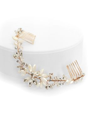 BRIDES AND HAIRPINS Brides And Hairpins Rhea Crystal Halo Comb in Rose Gold