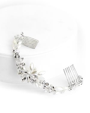 BRIDES AND HAIRPINS Brides And Hairpins Rhea Crystal Halo Comb in Silver