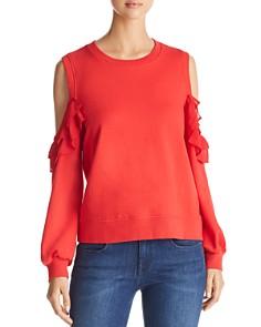 Marled - Cold-Shoulder Ruffled Sweatshirt