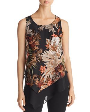STATUS BY CHENAULT Status By Chenault Tropical Layered Tank in Black/Green