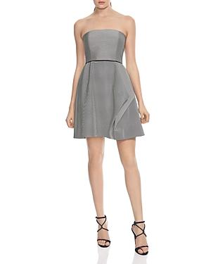 Halston Heritage Striped Strapless Dress