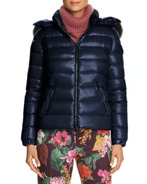 Badyfur Puffer Jacket W/ Removable Fur Hood, Navy