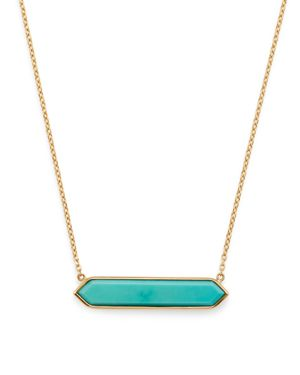 OLIVIA B 14K YELLOW GOLD STABILIZED TURQUOISE BAR PENDANT NECKLACE, 16 - 100% EXCLUSIVE