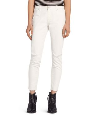 Allsaints Lola Distressed Cropped Skinny Jeans in Chalk White 2838034