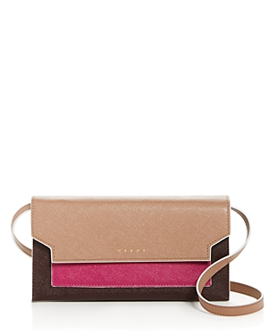 Marni Trunk Color-Block Leather Convertible Crossbody