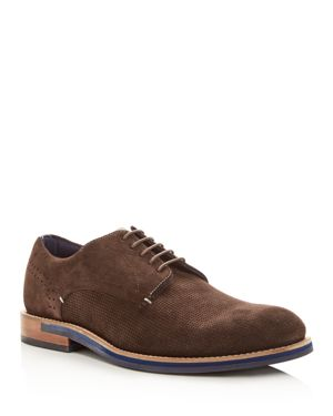 Men'S Lapiin Perforated Suede Plain Toe Oxfords, Brown