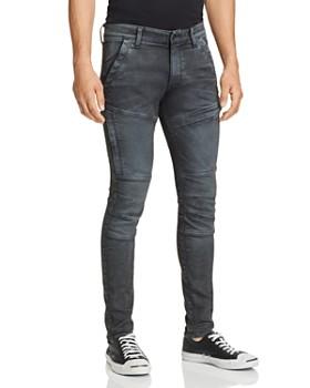 G-STAR RAW - Rackam Skinny Fit Moto Jeans in Dark Aged