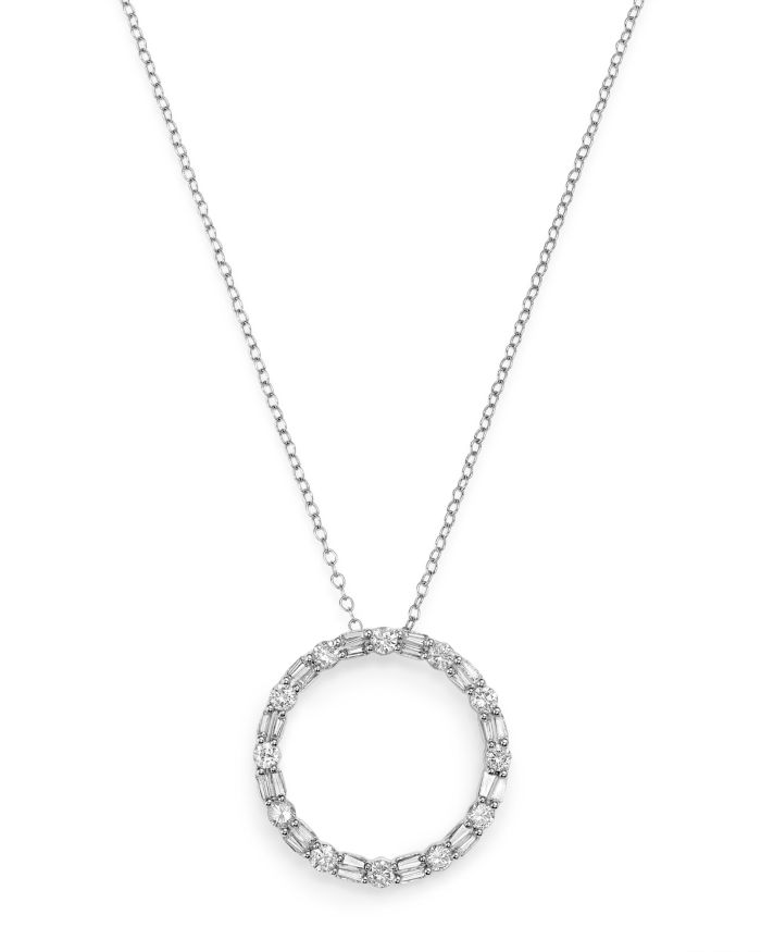 Bloomingdale's Diamond Circle Pendant Necklace in 14K White Gold, 1.0 ct. t.w. - 100% Exclusive  | Bloomingdale's