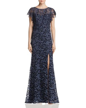 DECODE 1.8 Flutter-Sleeve Lace Gown in Pewter