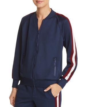 Zip-Front Track Jacket W/ Metallic Stripes in Navy