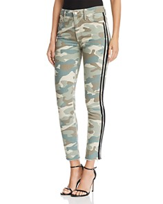 MOTHER - Looker High-Rise Camo Track Stripe Skinny Jeans in See Me Run Black - 100% Exclusive