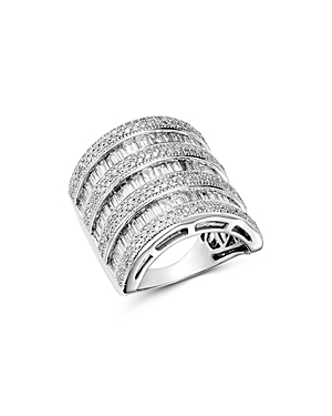 Bloomingdale's Diamond Channel-Set Baguette & Micro Pave Statement Ring in 14K White Gold, 3.0 ct. t