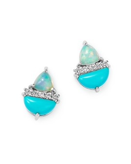 Bloomingdale's - Diamond, Stabilized Turquoise & Opal Stud Earrings in 14K White Gold - 100% Exclusive